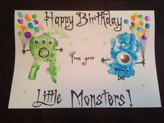 Monster handprint birthday card with fingerprint balloons!