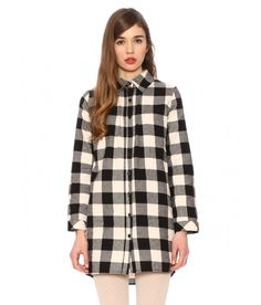 Vichy check shirt dress in black and white. Long sleeve and pointed collar