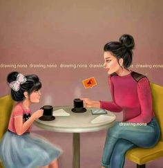 Mother daughter coffee dates❤️ Mother Daughter Art, Mother Art, Mother And Child, Love Mom, Mothers Love, Girly M, Girly Drawings, Girl Sketch, Girly Pictures