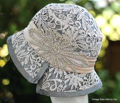 Vintage Style Cloche Flapper Wedding Hat in Silk by GailsHats Flapper Wedding, Wedding Hats, Lace Wedding, Wooly Hats, Knitted Hats, Mother Of The Bride Hats, Sombrero A Crochet, Felt Cowboy Hats, Bridal Hat