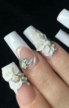 White floral rhinestone bridal themed nails @swan_nails