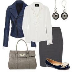 Great colour combo - blue jacket, white shirt and grey skirt. Cute shoes too