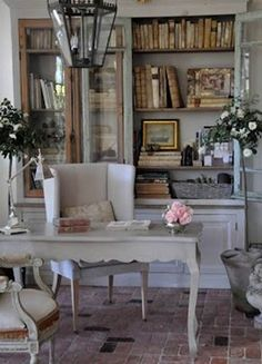 Home Office Library French Country Cottage French Country Living Room, Country Decor, Interior Design, Furniture, French Country Decorating Living Room, Home, Interior, Shabby Chic Homes, Home Decor