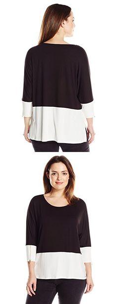 Calvin Klein Women's Plus-Size Colorblocked Dolman Top, Black, 2X