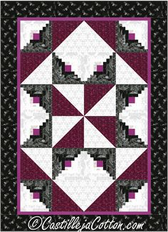 Pinwheel Star Quilt Pattern CJC-49692 Easy to make log cabin blocks and half square triangles.