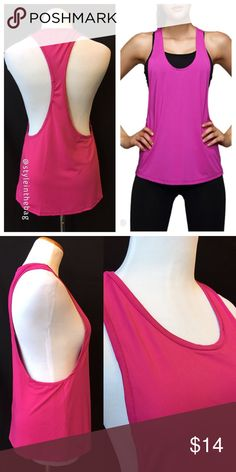 NEW S,M,L Racer Back Muscle Style Workout Top Pink Racer back athletic top in hot pink color. New in package. Stylish design for summer. 100% polyester, imported material. Bundle and save! boutique Tops Muscle Tees