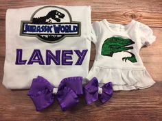 Girls Dinosaur Shirt;Matching Girl Doll;Girl And Doll;Made To Match;Dollie And Me;Girls Gift;Dinosaur Birthday;Girls Birthday;Custom Shirts by AllAboutThemDolls on Etsy