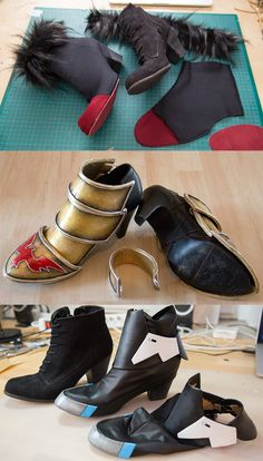 "cosplay diy tutorial Did you know that I have only two pair of cosplay shoes? One of them is my ""pretty"" pair with higher heels and a more feminine shape. The other pair are hiking shoes...Sometimes I attach some armor pieces, sometimes I'll use a boot cover. That way I'm able to use the same pair of shoes for different costumes and safe a lot of space in my suitcase!"