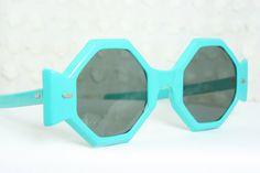 Unique 60s Sunglasses Vintage 60s Sunglasses Turquoise Eccentric Octagon Geometric Mod NOS Non Rx Dark Gray Lens. $79.00, via Etsy.