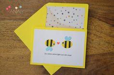 Handgestaltete+Grußkarte+Bienchen+von+HanaLY+auf+DaWanda.com