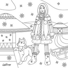 This Cute Eskimo Lady Is Todays Gift Of The Day Start Coloring Now With ColorTherapyApp Link In Our Bio HappyColoring