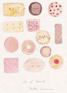 'lots of biscuits' sweets watercolour by Caitlin Shearer