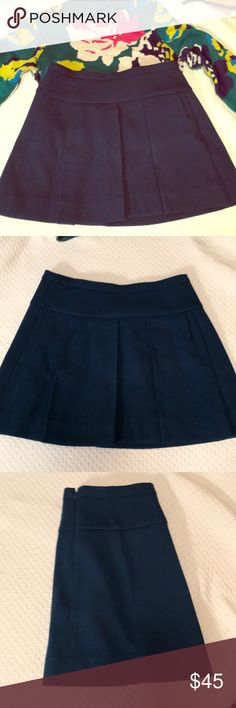 """Pleated J.crew Skirt Beautiful, thick a-line skirt in a jewel-toned turquoise. Looks amazing with black boots and turtleneck in the winter and cute sweaters in the spring. I'm 5'6"""" and this hits a few inches above the knee. This is TTS and doesn't run small like some J.Crew garments. Excellent condition! J. Crew Skirts A-Line or Full"""