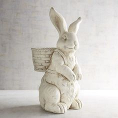Handcrafted of stone and hand-painted antique white, our bunny-inspired planter is just what a colorful spring bouquet calls for—inside your home or outside in your garden. Paper Mache Diy, Easter Table, Easter Decor, Easter Ideas, Easter Crafts, Diy Crafts For Kids Easy, Decorative Soaps, Rabbit Art, Easter Traditions