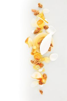 Pear with Ginger & Spice Crumble, Honey Brittle, Burnt Honey Cream from Eleven Madison Park's Angela Pinkerton