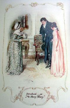 Catherine presentando a Mr. Tilney  a Mrs. Morland.
