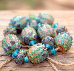 Lampwork Focal Olive Beads