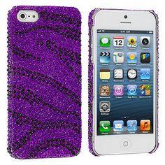 Black / Purple Zebra Bling Rhinestone Case Cover for Apple iPhone 5 / 5S
