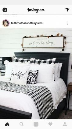 Pretty Farmhouse Master Bedroom Decorating Ideas An open family room and kitchen where the family eats is designed in charming farmhouse style which makes it a warm and welcoming heart for the home. The focal point. Bedroom Black, Modern Bedroom, Contemporary Bedroom, Bedroom Small, Single Bedroom, Trendy Bedroom, Spare Bedroom Ideas, Black White Bedding, Plaid Bedroom