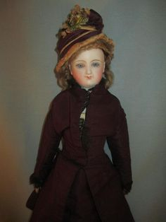 """Antique French Fashion Bisque Doll *Smiling BRU* Wood Articulated Body 14.5"""" 