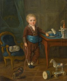 Portrait of a Young Boy with His Toys by French School | Art Posters & Prints