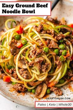 Easy keto ground beef recipe with zucchini noodles, inspired by beef stroganoff. This Paleo Keto ground beef dish is easy, affordable, and loaded with flavor! recipe with ground beef comfort foods Easy Ground Beef Meal Prep Recipe (Paleo, Ground Beef Crockpot Recipes, Healthy Ground Beef, Healthy Beef Recipes, Freezer Recipes, Freezer Cooking, Easy Recipes, Chicken Recipes, Beef Recipe Low Carb, Easy Ground Beef Stroganoff