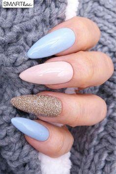 nails pink and blue ~ nails pink ; nails pink and white ; nails pink and black ; nails pink and blue ; nails pink and gold Cute Acrylic Nails, Acrylic Nail Designs, Nail Art Designs, Acrylic Spring Nails, Almond Acrylic Nails, Nail Designs Spring, Acrylic Nails For Summer Almond, Holiday Acrylic Nails, Matte Gel Nails