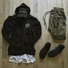 (hucci - splash ) @outfitgrid. • @Antisocialsocialclub Hoody. • @Parkerstreetclo Hat. • @HM Tee. • @Zara Cargo Jogger. • @Adidasoriginals 350 Boost.