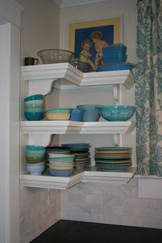 Open corner shelves, Fiestaware, Pyrex & Fire King dishes, Carrara marble subway tile backsplash