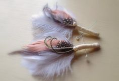 pink and silver champagne | Silver Ivory and Pink champagne boutonniere, men's lapel pin, Grey ...