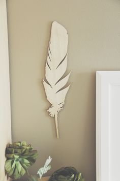 Large Wood Laser Cut Wall Feather