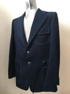 Vintage Men's 70's Sport Coat, Navy Blue, Blue Stitching by Marios (M) by Freshandswanky on Etsy