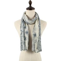 Beige Scarve In Blue and White Pattern - US$7.95 -YOINS