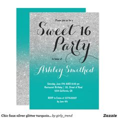 Chic faux silver glitter turquoise ombre Sweet 16 Card