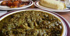 Pondu || cassava leaves, onions, red palm oil, sardines or mackerel, hot chilli powder, fresh chillies