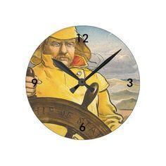 TOP Seafarer Round Clock - ocean side nature waves freedom design
