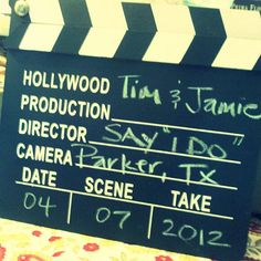 Chalkboard Wedding Decoration-Hollywood Clapper Board Sign (black and white) on Etsy, $12.95