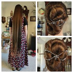 knee length hair twisted into a bun and secured with a Lilla Rose flexi clip