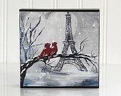 Cadeau d'anniversaire décor Paris pour Couple rouge oiseau peinture Love Birds Art amour oiseaux Print Paris Art Tour Eiffel peinture Valentine Art Love