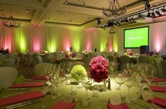 Inspired by the colorful #spring #uplight lighting at this reception! Photo via #partythemes101