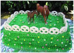 Horse Birthday Cakes Decorating Ideas - pretzel fence!!
