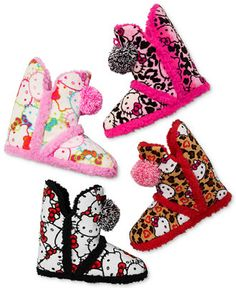 Hello Kitty Super Plush Booties with Pom Poms Slippers - Handbags & Accessories - Macy's Hello Kitty Clothes, Hello Kitty Items, Preppy Outfits, Cute Outfits, Hello Kitty House, Baby Kimono, Pajama Day, Girls Slip, Fancy Shoes