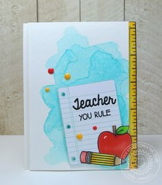 Crafty Time 4U card using the School time stamp by Sunny studio stamps  #Teachercard