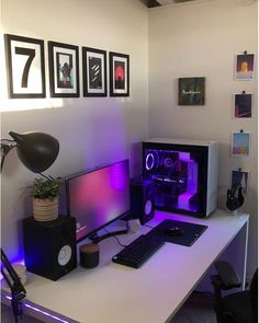 17 Gaming Room Setup Ideas: 17 Must-Haves For Pc & Console Gamers - House & Living Gamer Setup, Gaming Room Setup, Pc Setup, Computer Desk Setup, Gaming Computer, Computer Rooms, Simple Computer Desk, Pc Console, Bedroom Setup