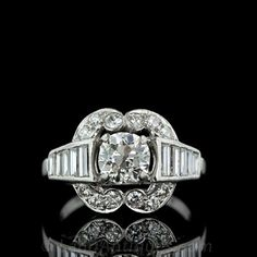 Art Deco Diamond Engagement Ring; An original platinum Art Deco engagement (or right-hand ring) from the 1930s. Art Deco Jewelry