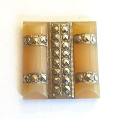 RARE vintage stone (1)  glass Butterscotch mustard yellow silver faux marcasite  translucent  Deco  flatback  One inch 24mm square (1) by a2zDesigns on Etsy One Inch, Pink Stone, Marcasite, Mustard Yellow
