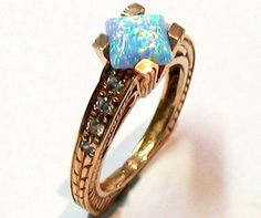 Vintage Gold Ring with Lovely Opal and Zircon Gemstones