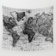 World map wall tapestry vintage map dorm room decor blue and available in three distinct sizes our wall tapestries are made of 100 lightweight polyester old world mapsvintage gumiabroncs Choice Image