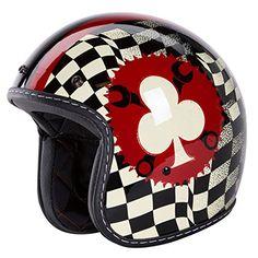 """3/4 Retro Helmet [DOT]- """"Poker Player"""" Open Face, Gloss Black, Poker Helmet by IV2 (S) IV2 http://www.amazon.com/dp/B00S1OIUGS/ref=cm_sw_r_pi_dp_pYsvvb01275CS"""