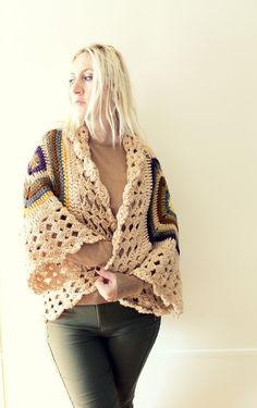 Afghan Crochet CardiganBeige by LoveandKnit on Etsy, $125.00